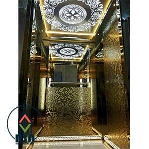 کابین آسانسور تایل طلایی
