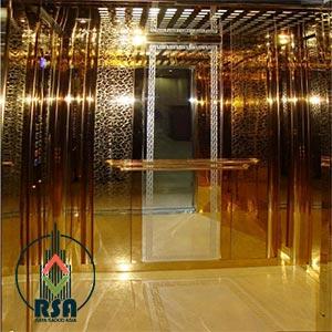کابین آسانسور استیل طلایی