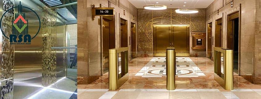 کابین آسانسور طلایی طرحدار