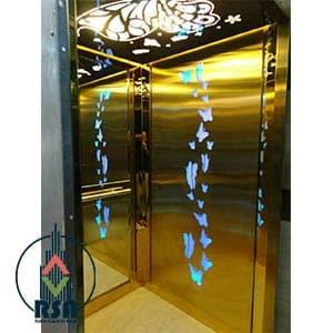 قیمت کابین آسانسور طلایی طرحدار